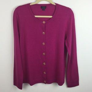 Talbots - Pure Merino Wool Jeweled Button Cardigan